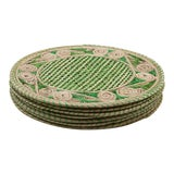 Image of Green and Cream Round Iraca Fibre Placemats - Set of 8 For Sale