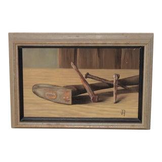 "John T. Axton III (1922-2009) ""Hammer & Nails"" Original Still Life Oil Painting For Sale"