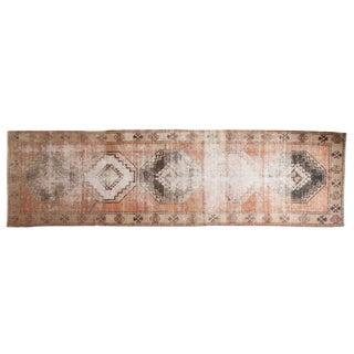 """Vintage Distressed Oushak Rug Runner - 3'9"""" X 13' For Sale"""