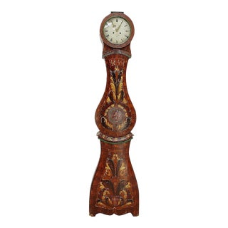18th Century Gustavian Swedish Mora Clock - Floral For Sale