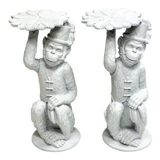 1980s Blanc De Chine Style Monkey Side Tables by Toscano - a Pair For Sale