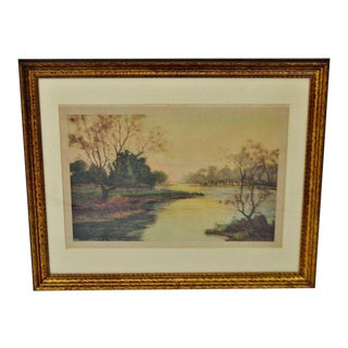 Vintage Fausto Giusto Framed Colored Etching Stehli Freres, Editeur's Zurich For Sale