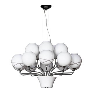 Boblu Carlo Moretti Contemporary Murano Clear and White Glass Chandelier For Sale