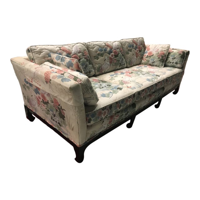 Manner of Michael Taylor for Baker Tufted Chinoiserie Sofa With Ming Legs For Sale