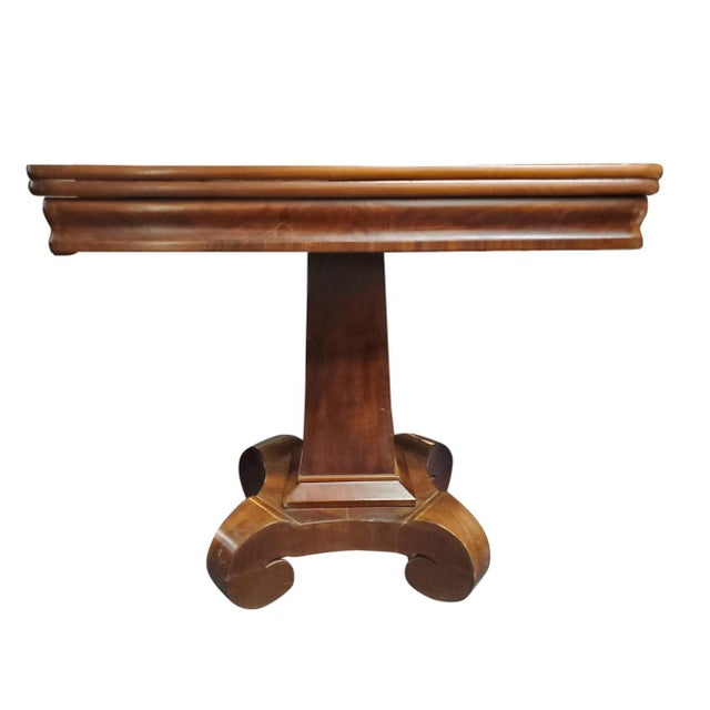 Antique Empire Style Flip Top Mahogany Game Table For Sale - Image 11 of 11