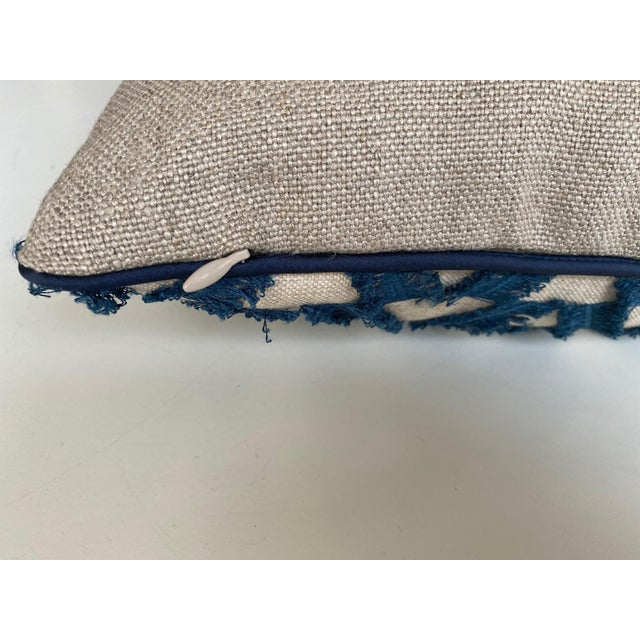 Navy and White Woven Pillows - a Pair For Sale - Image 4 of 7
