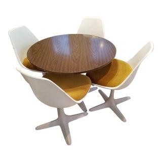 Burke Mid-Century Modern Propeller Tulip Table & Chairs Dining Set For Sale