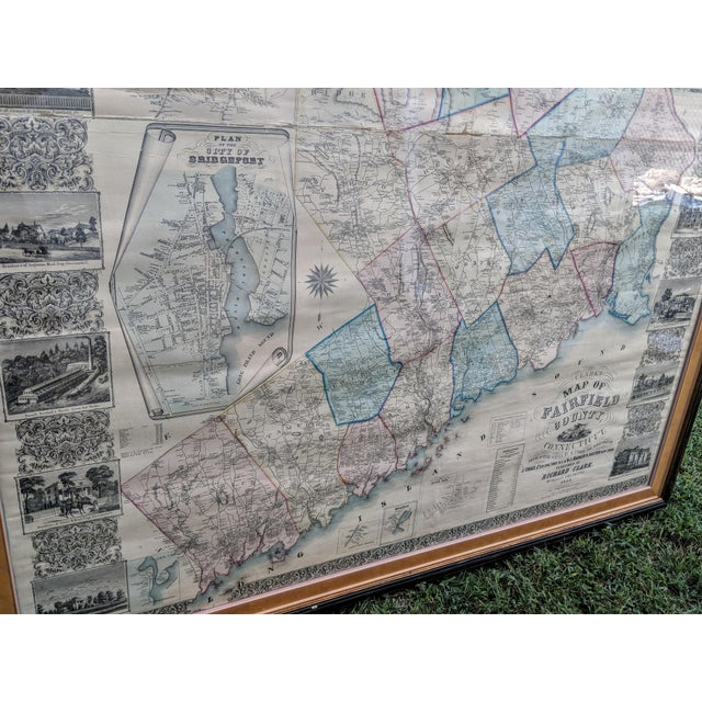 Antique Framed Map of Fairfield County, Ct | Chairish