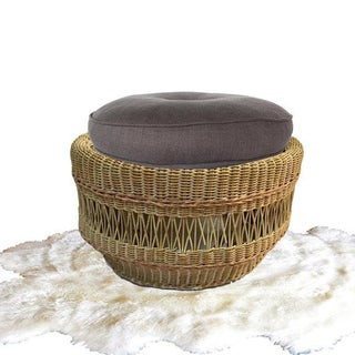 Vintage Wicker Ottoman Round Footstool With Cushion Preview