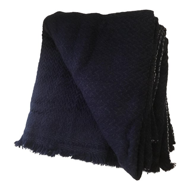 Extra Large Navy Cashmere Throw - Image 1 of 6