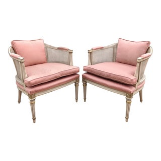 1960s Louis XVI Style Gilt Cane Accent Chairs - a Pair For Sale