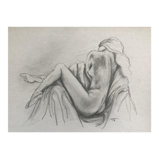 "Original Drawing ""Reclining Nude"" by Christy Almond For Sale"