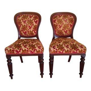 Antique Victorian Style Wood & Velvet Dining / Side Chairs - a Pair For Sale