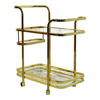 1970s Mid Century Modern Baughman for Dia Brass and Glass Bart Cart For Sale
