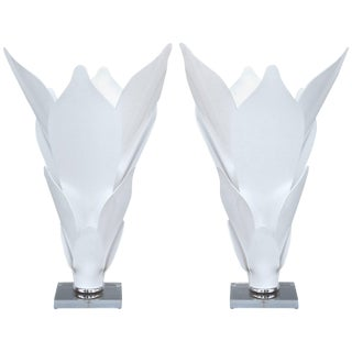 Acrylic Sculptural Lamps in the Style of Rougier For Sale