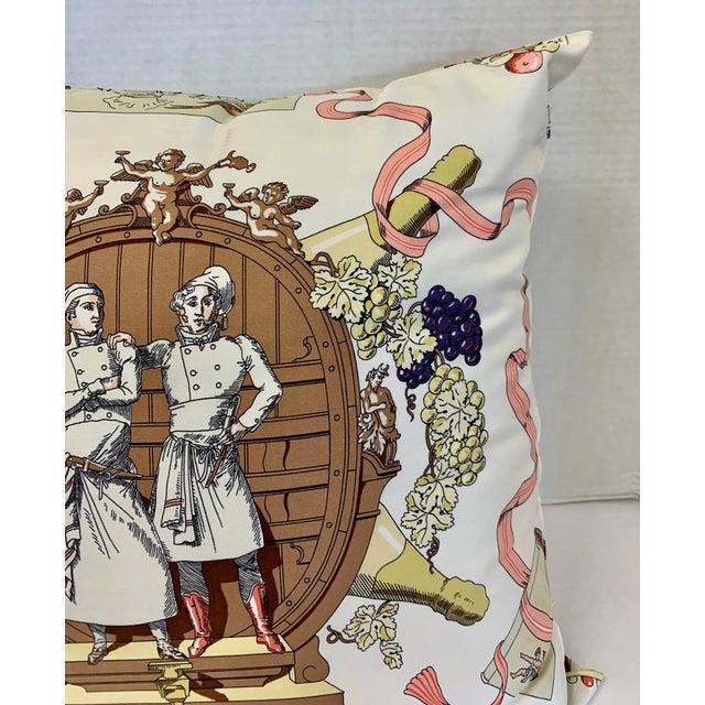 """Hermès Hermès of Paris """"A La Gloire De La Cuisine Française"""" Silk Scarf Pillow For Sale - Image 4 of 12"""