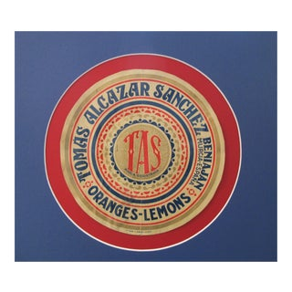 1920's Original Spanish Art Deco Vegetable Crate Label - Tas - Tomas Alcazar Sanchez From Murcia Spain (Blue \ Red) For Sale