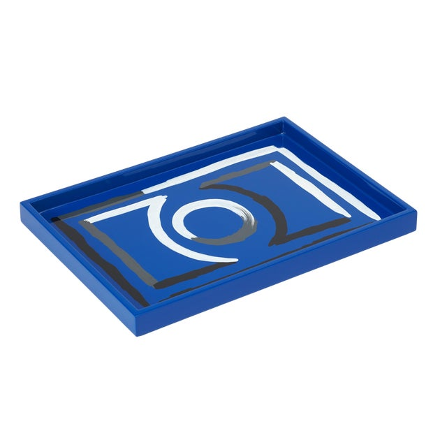 Luke Edward Hall Collection Small Etienne Tray in Blue For Sale