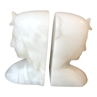 Vintage Alabaster Lady's Bust Bookends - a Pair For Sale