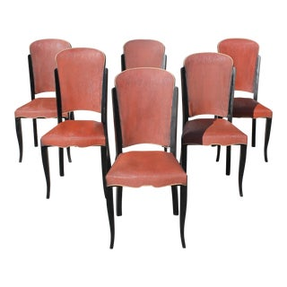 1940s Vintage French Art Deco Solid Ebony Dining Chairs- Set of 6 For Sale