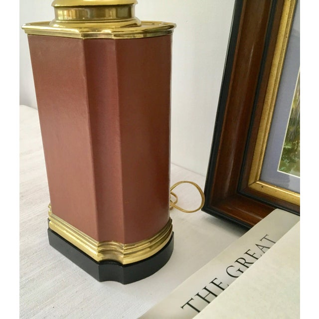 Brown Vintage Brass and Brown Leather Tea Caddy Style Table Lamp For Sale - Image 8 of 11