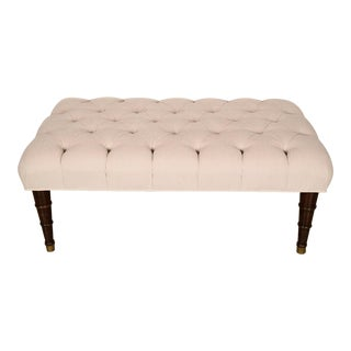 Traditional Regency-Style Tufted Bench For Sale