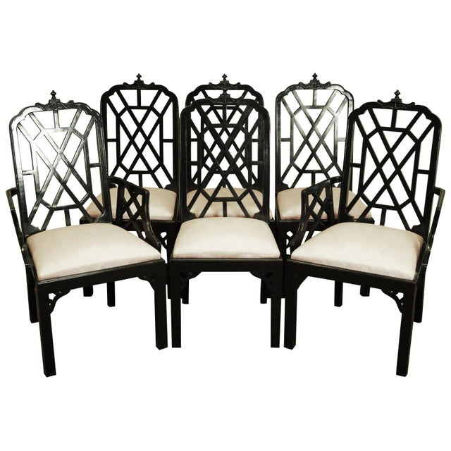 Mid 20th Century Hollywood Regency Chinoiserie Pagoda Dining Chairs - Set of 6 For Sale - Image 5 of 5