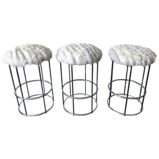 Three Vintage Chrome Tubular Bar Stools in Fox Fur