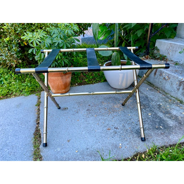 1970s Mid-Century Faux Bamboo Brass Luggage Rack. For Sale - Image 11 of 11