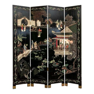 Chinese Four-Panel Black Lacquered Coromandel Screen For Sale