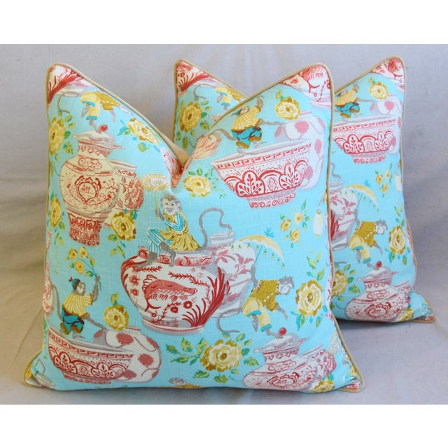 """Aqua Chinoiserie Playful Monkeys & Chinese Vases Feather/Down Pillows 26"""" Square - Pair For Sale - Image 12 of 13"""