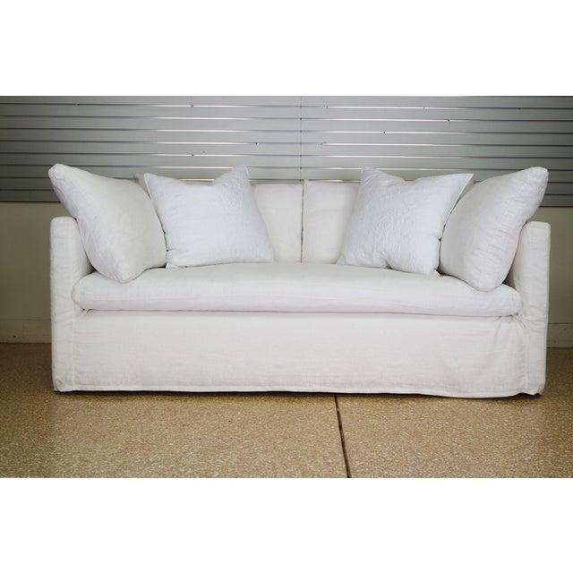 Custom Designer White Linen Slipcovered Sofa - Image 11 of 11