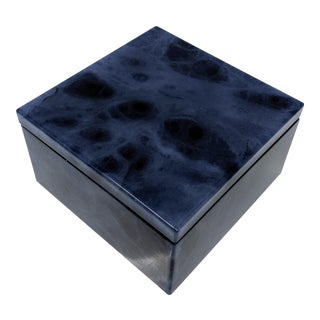 Italian Blue Alabaster Swivel Top Box For Sale
