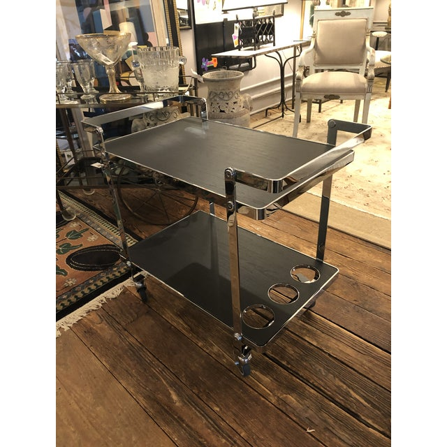 Ligne Roset Chrome and Black Wooden Laminate Bar Cart For Sale - Image 4 of 10