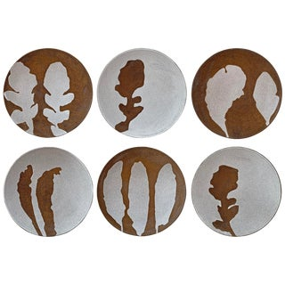 Hand-Thrown Stoneware Salad Plates - Set of 6 For Sale