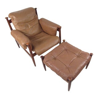 Vintage Leather and Rosewood Lounge Chair by Eric Merthen For Sale