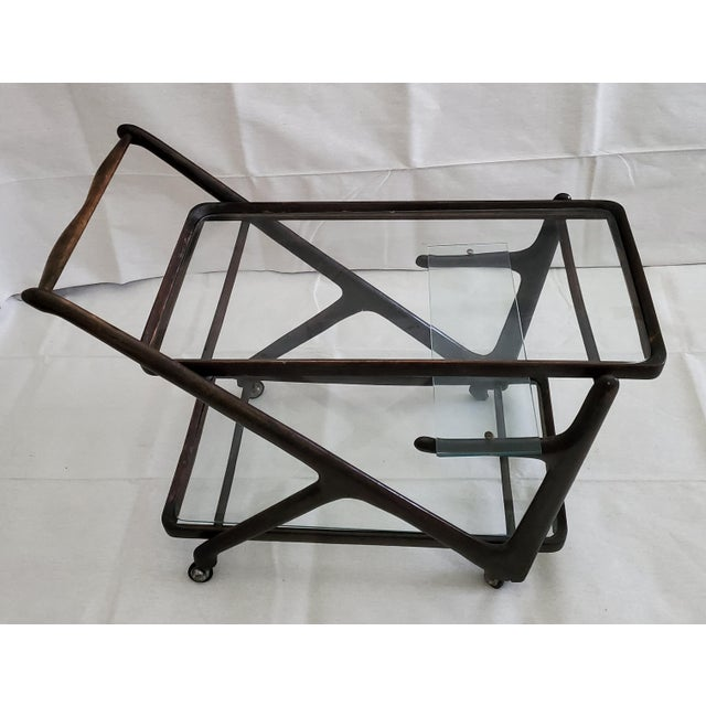 Mid 20th Century 1950s Italian Mid-Century Modern Serving Bar Cart - in Manner of Ico Parisi For Sale - Image 5 of 12