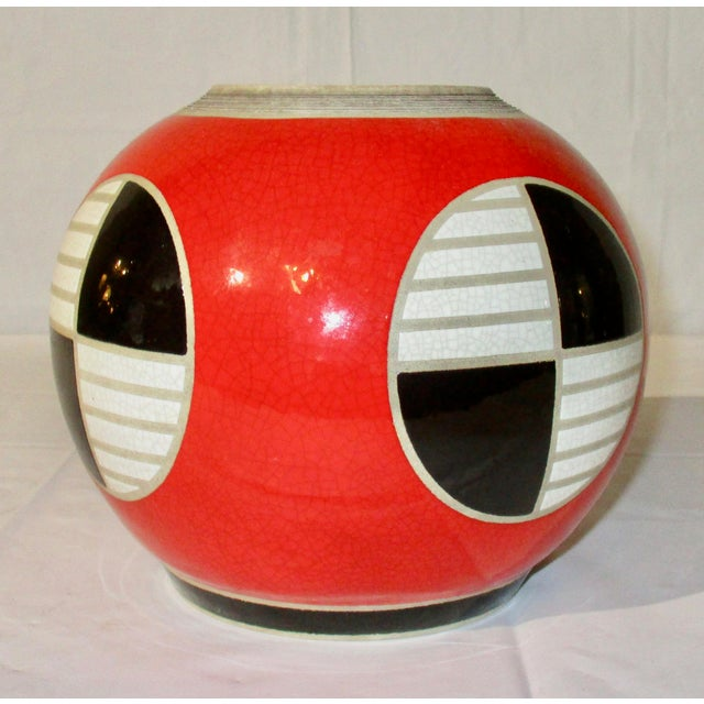 Abstract Red, Black and White Modern Jar For Sale - Image 3 of 6