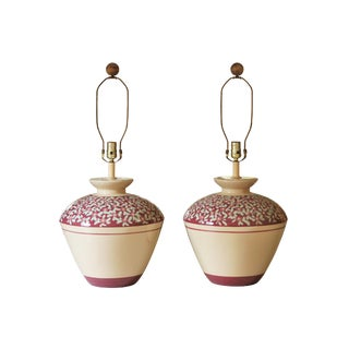Large Floral Ceramic Table Lamps - a Pair For Sale
