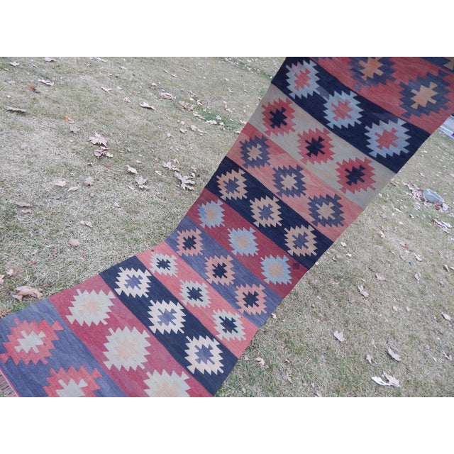 "Vintage Muted Orange Turkish Kilim Runner Rug 2'6"" X 9'4"" For Sale - Image 11 of 13"
