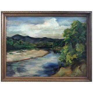 Antique Impressionist Landscape Oil Painting on Canvas For Sale
