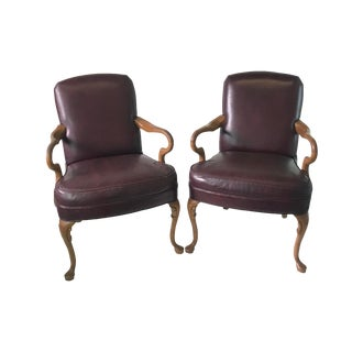 Vintage Mid Century European Oxblood Leather Chairs- A Pair For Sale