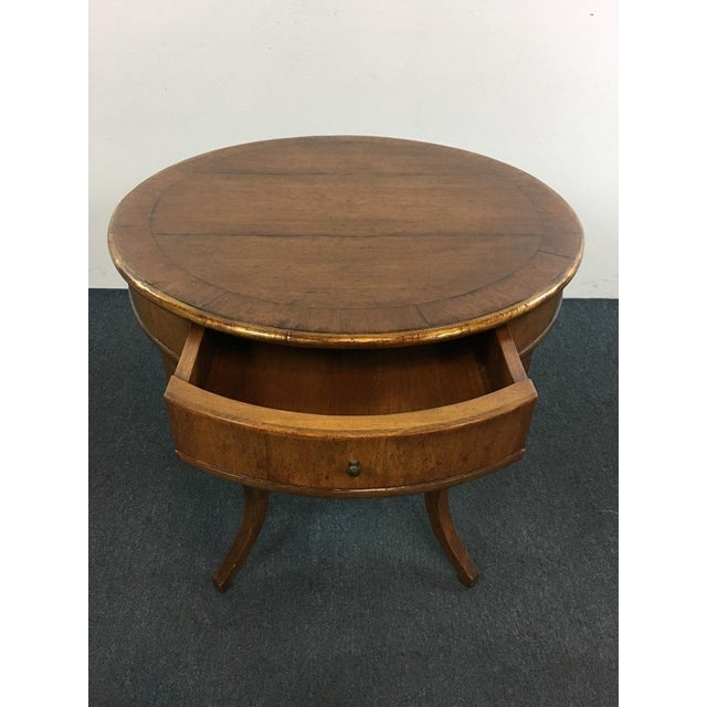 Vintage Carved & Veneered Walnut Single Drawer Round Top End Table For Sale - Image 4 of 5