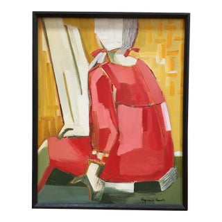 Vintage Mid Century Cubist Abstract Oil Painting Portrait For Sale