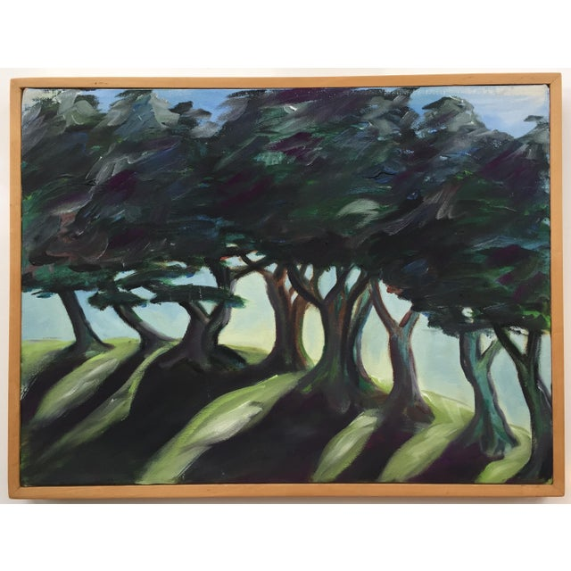 Blue Landscape Painting of Trees on Framed Canvas For Sale - Image 8 of 8
