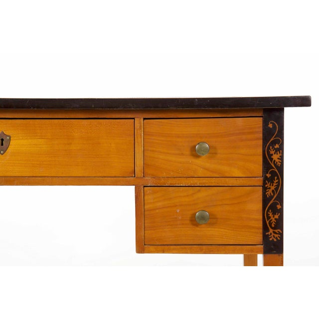 Yellow Biedermeier Style Inlaid Fruitwood Writing Table For Sale - Image 8 of 13