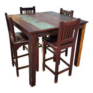 Indonesian High Top Wood Dining Table Set - 5 Pieces For Sale