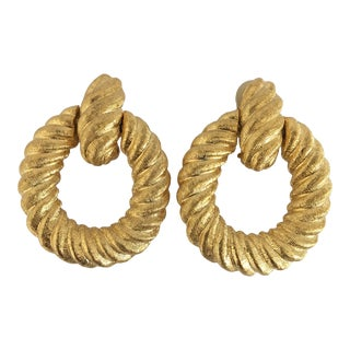Vintage Goldtone Door Knocker Earrings - a Pair For Sale