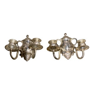 1900s Silver Plated Sconces - a Pair For Sale