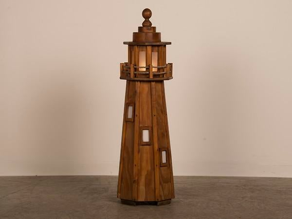 Charming Vintage French Handmade Wood Lighthouse Floor Lamp Circa 1950   Image 2 Of 8